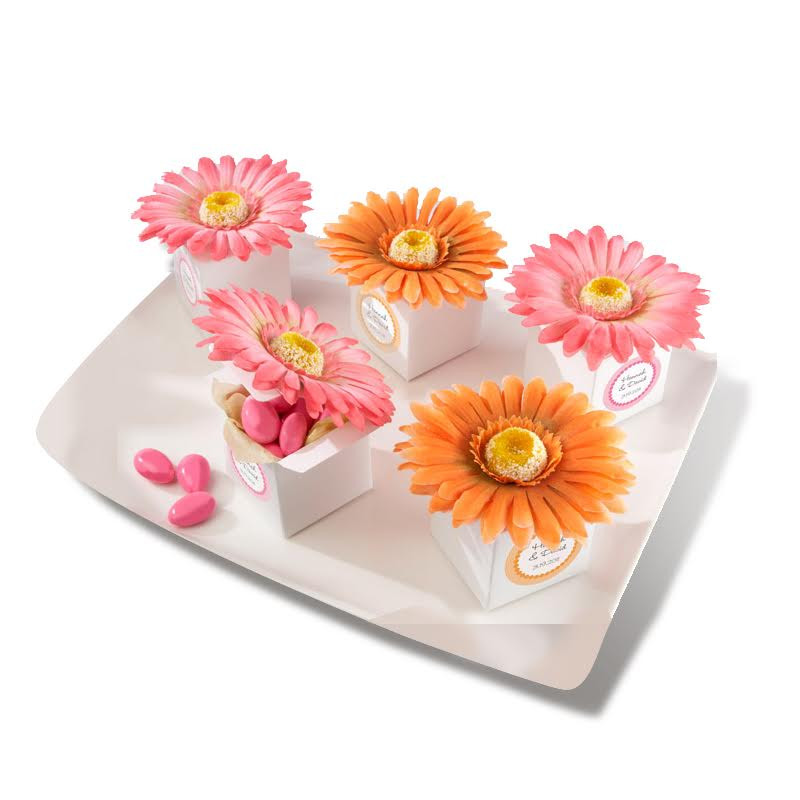 """Daisy Delight"" Gerbera Daisy Favor Box (Bright Orange or Hot Pink) (Set of 24)"