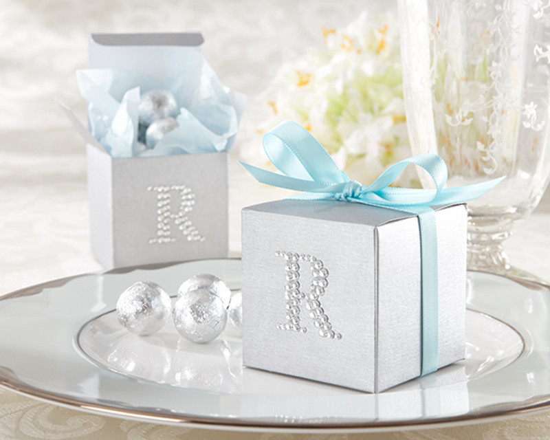 Jeweled Monogram Silver Favor Kit (Set of 24)