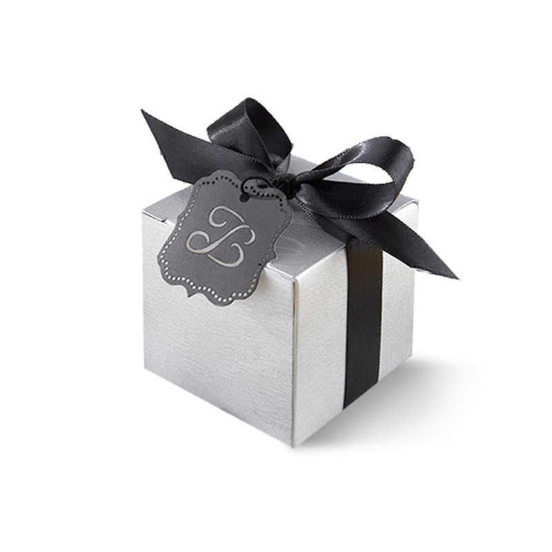 """Letter Perfect"" Silver Favor Box Kit with Laser-Cut Monogrammed Tag (Set of 24)"