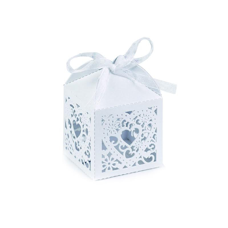 White Square Decorative Favor Boxes (Set of 25)