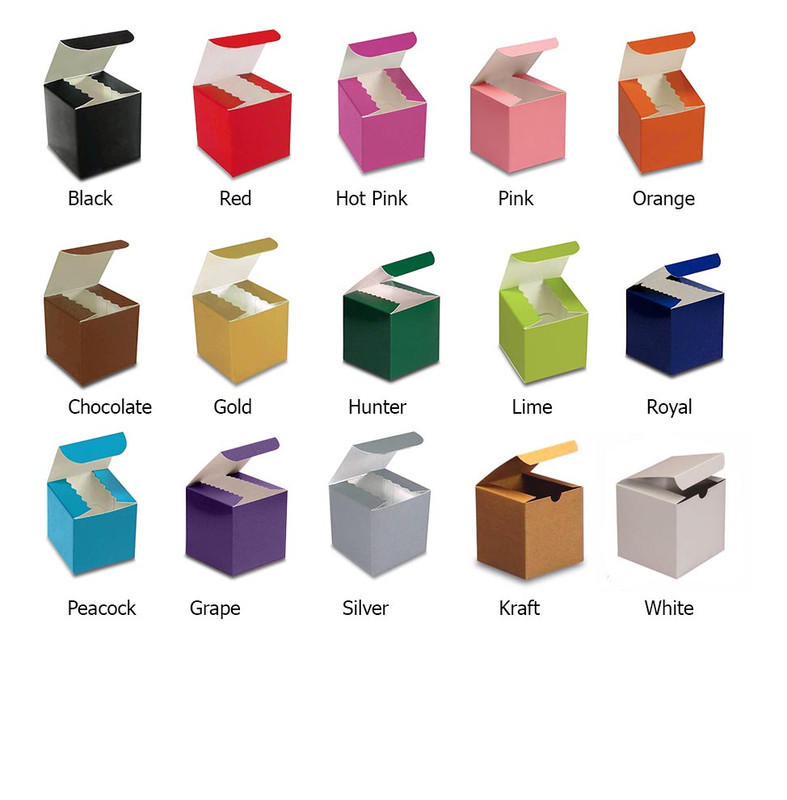 Colored High Gloss Tuck Top Upsherin Boxes with optional personalized label. 11 Colors Available.