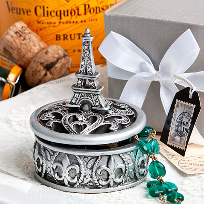 Eiffel Tower design curio box favors