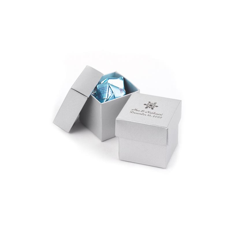 Personalized Silver Shimmer 2 piece Favor Boxes (Minimum 25)