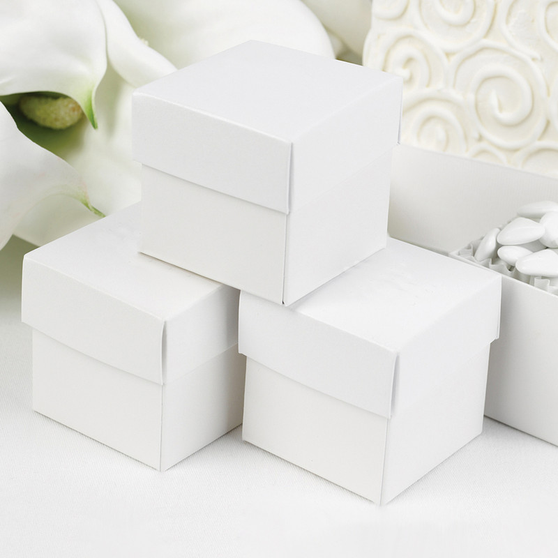 Personalized White Shimmer 2 piece Favor Boxes (Minimum 25)