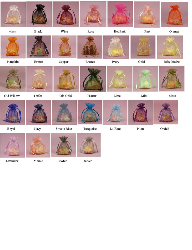 """Organza Favor Bag 4"""" x 5"""", Loads of Colors Available!"""