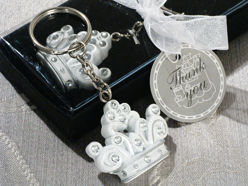 """Queen for a day"" Sparkling Tiara keychain favor."