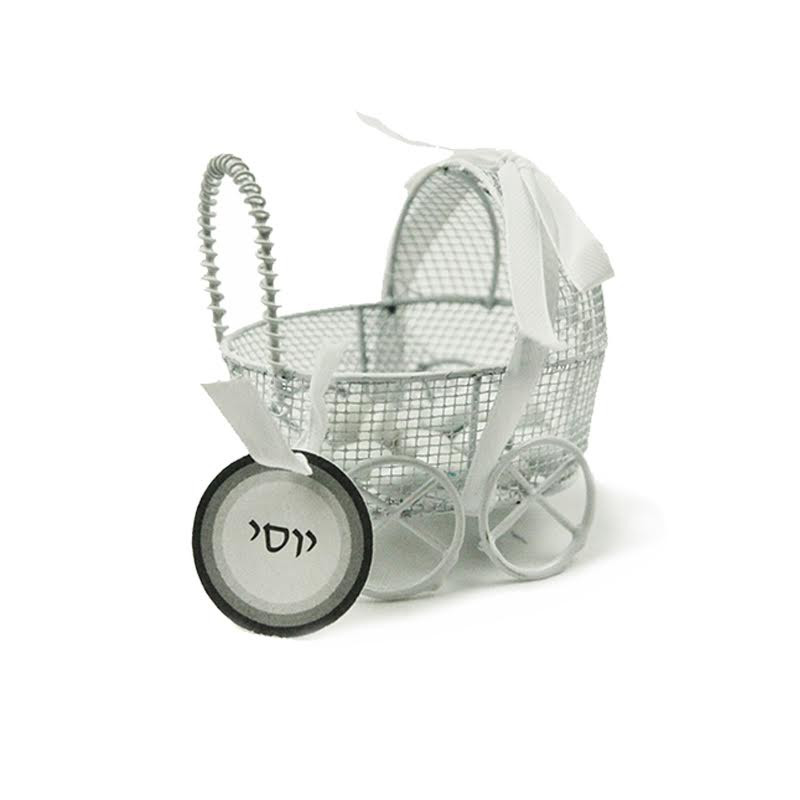 Mini Wire Baby Carriage Available in Pink, Blue, & White