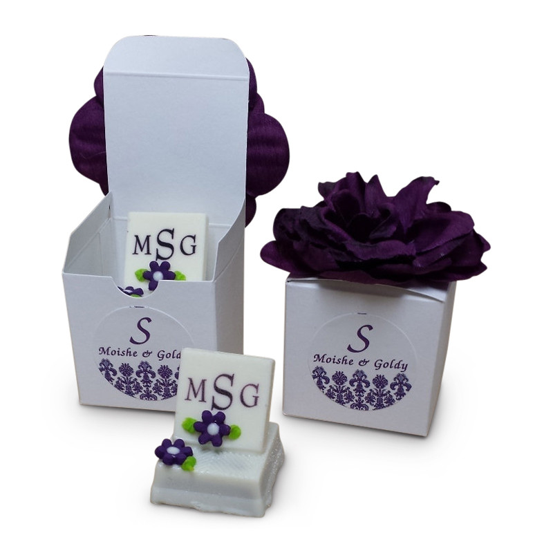 Personalized Monogrammed Chocolate Miniatures (Flower top box sold separately below)