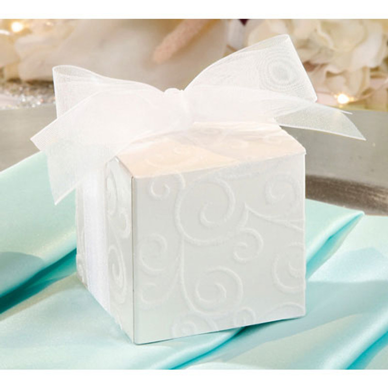 White Flocked Swirl Favor Box 2 x 2