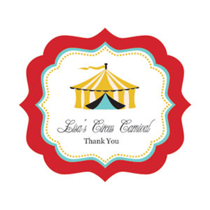 Circus Carnival Party Frame Personalized Labels