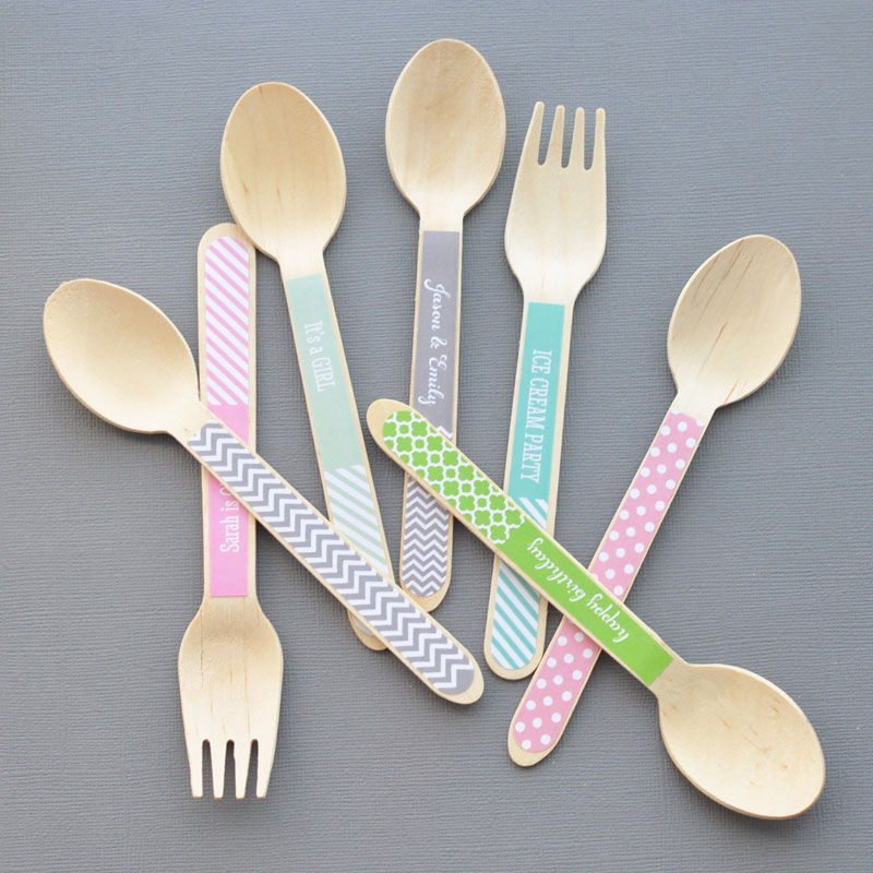 Personalized Wooden Utensils (set of 24)
