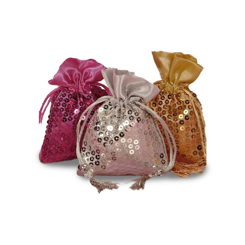 Sequin Flat Bags With Satin Top