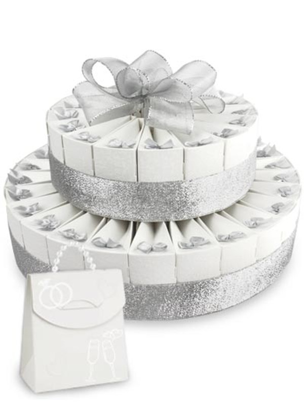 """Anniversary Silver Double Tier 8"""" x 12"""" Favor Cake Kit"""