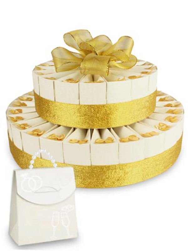 """Anniversary Gold Double Tier 8"""" x 12"""" Favor Cake Kit"""