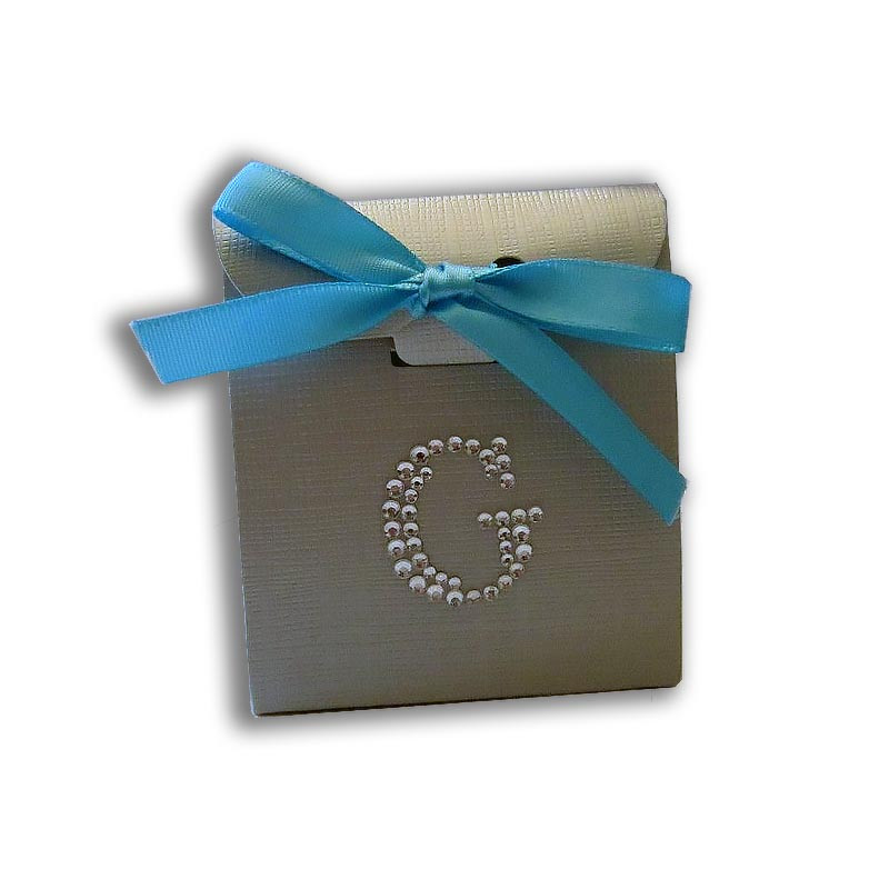 Jewelled Monogrammed Silver Linen Favor Box