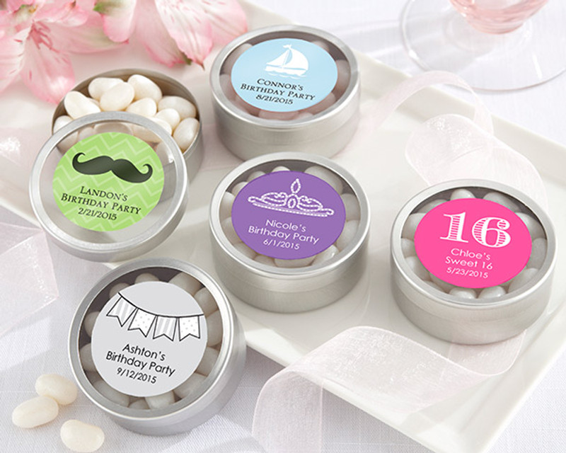 """PERSONALIZED SILVER ROUND CANDY TIN - """"SIMPLY SWEET"""" BIRTHDAY (SET OF 12)"""