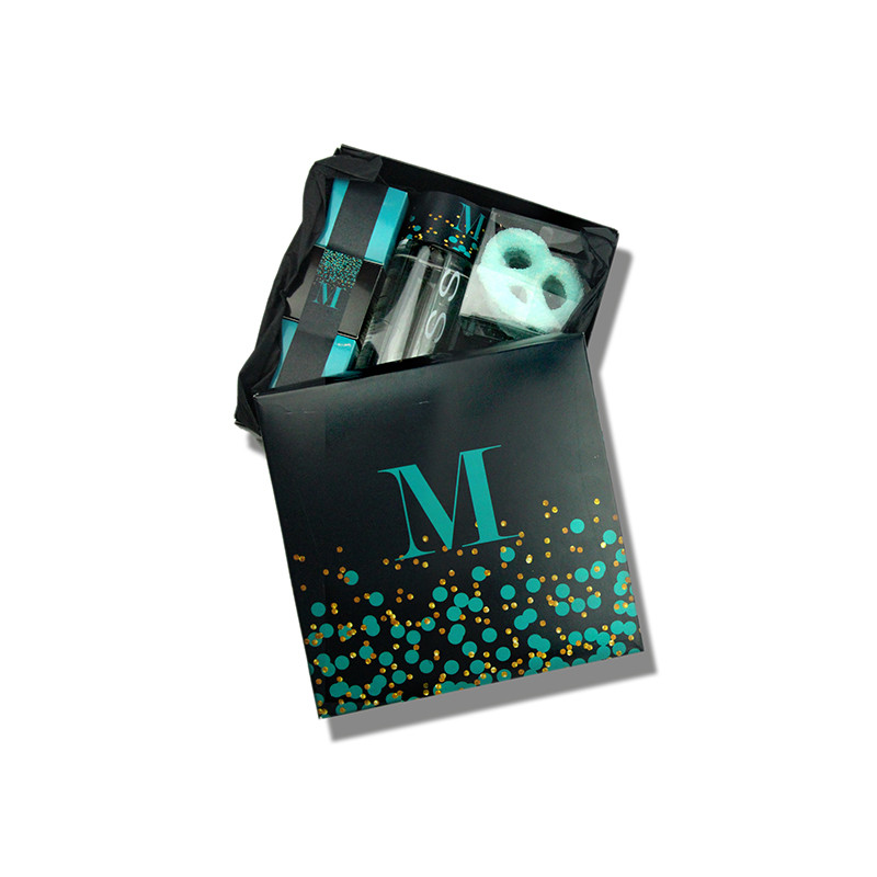 Confetti Design Black & Teal Monogrammed Purim or Welcome Box 4 Sizes Available