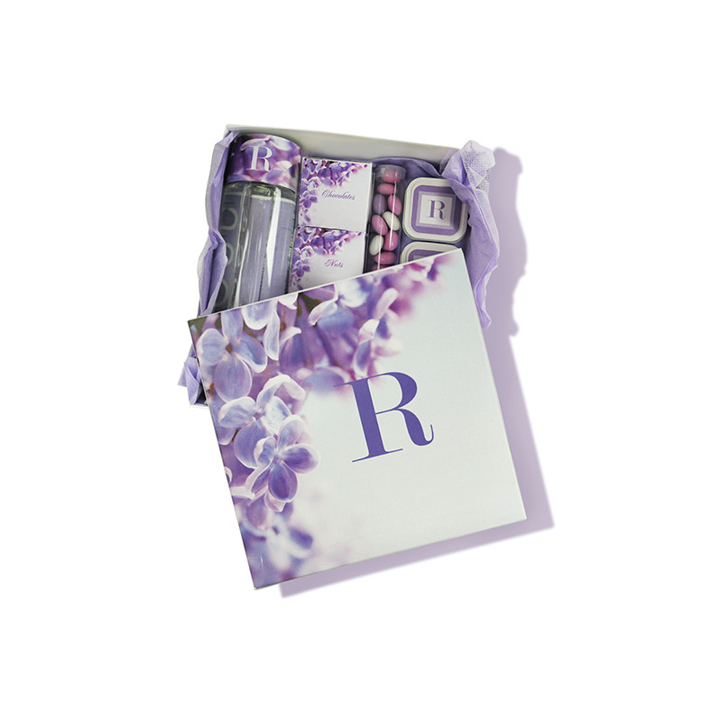 Purple Orchid Design Monogrammed Guest or Purim Box 4 Sizes Available (Box Only)