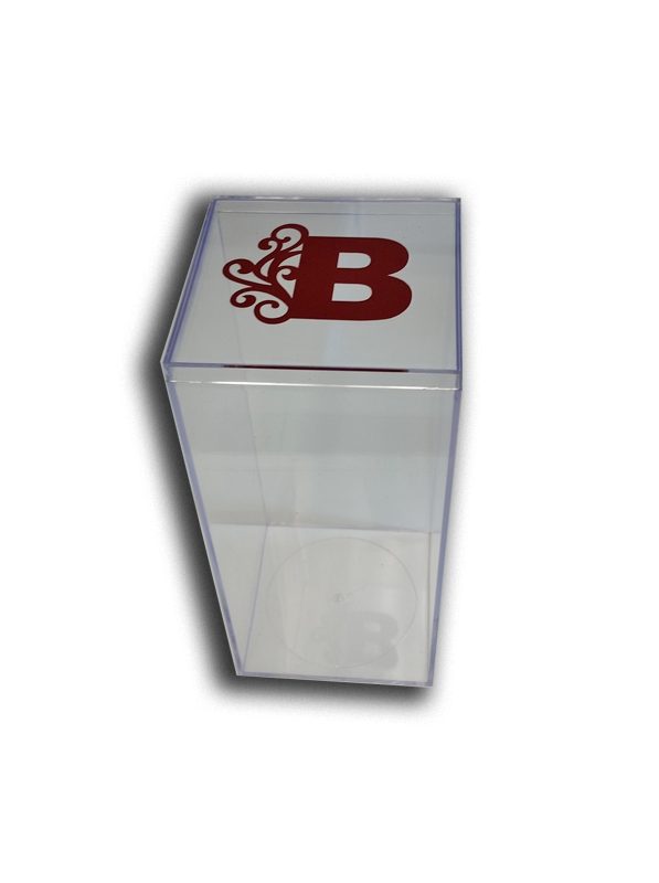"Monogrammed 8"" x 4"" Lucite Box, Personalization available in colors,  (Monogram is a sticker and does not come on boxes)"