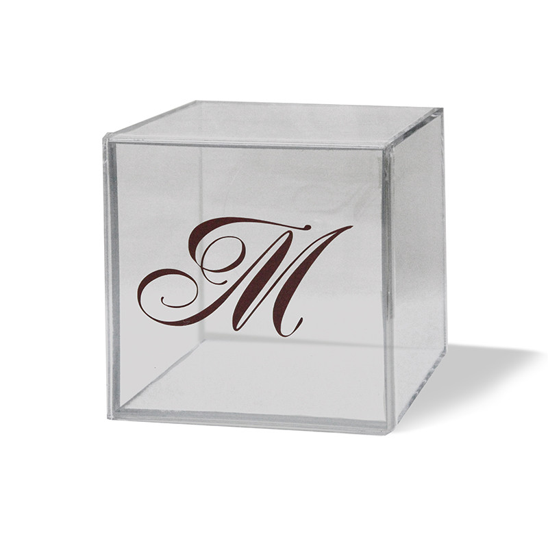 """Monogrammed 4"""" x 4"""" Lucite Box, Available in colors (Monogram is a sticker and does not come on boxes)"""