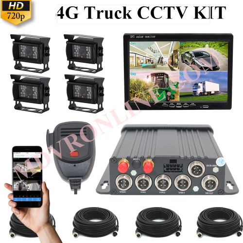 HIKWAY 4CH GPS 4G 720P AHD SD Card MDVR Kit