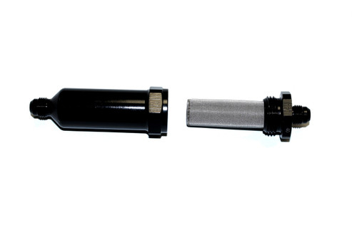 40 Micron Fuel Filter Element Stainless Element - 6 AN Washable Inline Filter