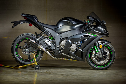 2016-2017 KAW ZX10R Tech 1 style Carbon Slip On with Titanium Catalytic Converter Eliminator