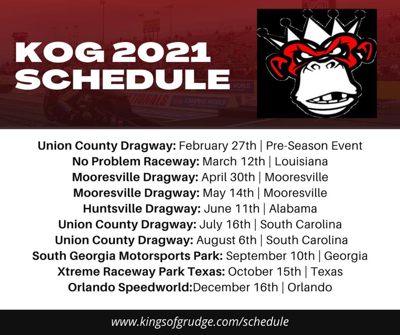 KOG 2021 Racing Schedule