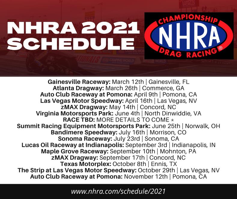 NHRA 2021 Racing Schedule