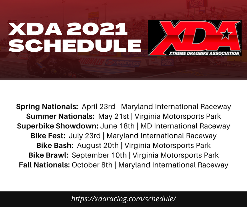 XDA 2021 Racing Schedule
