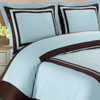 Hotel-100-Percent-Cotton-Duvet-Cover-Set-Blue/ Chocolate