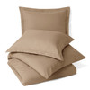 Taupe-100% Microfiber Solid 3-Piece Duvet Cover Set