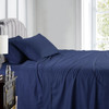 Navy-Pure Cotton 600 Thread Count Sheets Damask Striped Bed Sheet Set