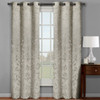 Claire Micro Suede Jacquard Blackout Weave Grommet Curtain Panels (Set of 2) -Beige