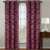 Claire Micro Suede Jacquard Blackout Weave Grommet Curtain Panels (Set of 2) -Burgundy