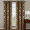 Claire Micro Suede Jacquard Blackout Weave Grommet Curtain Panels (Set of 2) -Cafe