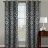 Claire Micro Suede Jacquard Blackout Weave Grommet Curtain Panels (Set of 2)- Grey