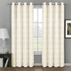 Aryanna Jacquard Floral Curtains With Top Grommets (Set of 2) -Ivory