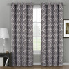 Aryanna Jacquard Floral Curtains With Top Grommets (Set of 2)- Gray
