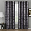 Aryanna Jacquard Floral Curtains With Top Grommets (Set of 2) -Charcoal