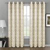 Aryanna Jacquard Floral Curtains With Top Grommets (Set of 2) -Beige