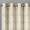 Aryanna Jacquard Floral Curtains With Top Grommets (Set of 2) -closeup-Beige