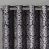 Aryanna Jacquard Floral Curtains With Top Grommets (Set of 2) -closeup-Charcoal