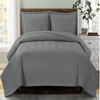 Chervon Lightweight Microfiber Solid Gray Quilted Coverlet