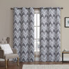Marlie Intelligent design Blackout Weave Grommet Curtain Panels -Grey/Black