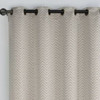Chevron Embroidered Curtains Grommet Top Jacquard Panels (Set of 2) -closeup-Chocolate
