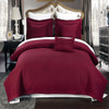 Burgundy/Checkered Quilted Wrinkle-Free 6-Piece Bedspread Set Image