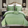 Sage/Luxury Checkered Quilted Wrinkle-Free 6-Piece Bedspread Set Image