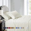 Ivory-Luxury Cal King Cotton Sheets 600 Thread Count Damask Striped Bed Sheet Set