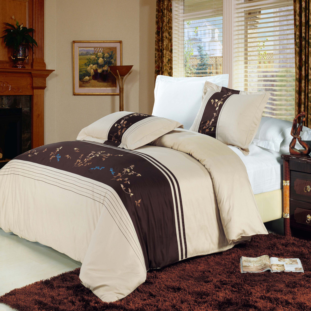 Full//Queen 3PC Celeste 100/% Combed Cotton Embroidered Duvet Cover Sets